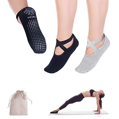 Haton Calcetines Antideslizantes para Yoga,Calcetines Pilates, Calcetines Mujer Divertidos para Ejercicio Interior, Yoga, Pilates, Ballet, Danza, Entrenamiento Descalzo, Trampolín, 2 pcs(Negro&Gris)