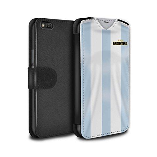 Stuff4 PU Pelle Custodia/Cover/Caso/Portafoglio per Huawei P8 Lite/Argentina/Argentino/Coppa Mondo 2018 Maglietta Calcio Disegno