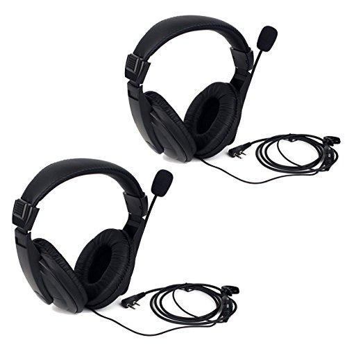 Retevis R114 Auricular de Diadema Cancelación Ruido VOX 2 Pines Over-Ear Pinganillos Compatible con Walkie Talkie RT24 RT22 RT5R RT27 RT28 Baofeng BF-888S UV-5R Kenwood (2 Pacs)