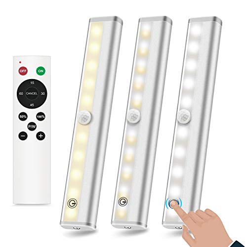 ANBOCK Remote Control Under Cabinet Lighting Battery Operated LED Strip Lights with Touch Control, 20-LED Closet Lights Stick On Lights Wireless Under Counter Lights for Kitchen, 3 Colors-3 Pack