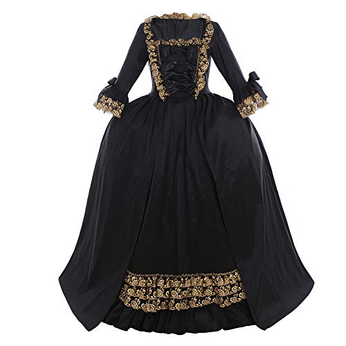 CosplayDiy Women's Queen Marie Antoinette Rococo Ball Gown Gothic Victorian Dress Costume Black XL