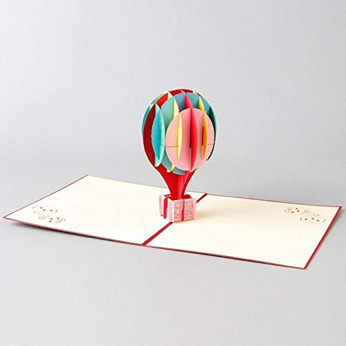 YAOJII 3D Pop Up Card Handgemaakte Regenboog Hot Air Balloon Papier Uitnodiging Wenskaarten Postkaart Creatief Geschenk