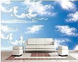 ZZXIAO Tv de pared de vinilo de cielo azul de nubes blancas Decoración Fotomural sala Pared Pintado Papel tapiz no tejido-350cm×256cm