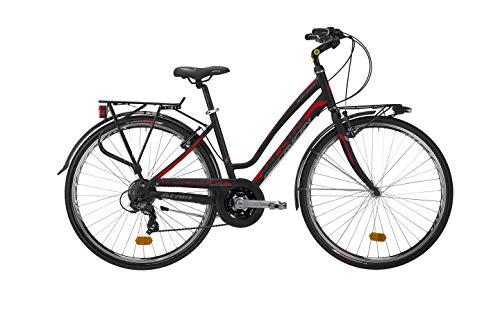 Atala Citybike da Donna Modello Discovery S, 18 velocità, Colore Nero-Rosso, Misura M (Fino a 172cm)