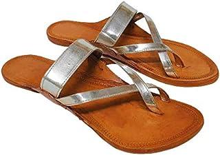 Women's Kolhapuri Chappals | Ethnic Leather Flats Kolhapuris for Women | WK63
