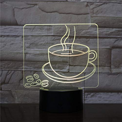 USB 3D Led Night Light Coffee Cup Multicolor RGB Decorative Lamp Boy Child Kid Baby Gift Coffee Bean Desk Lamp Bedside Table, Novel Gift