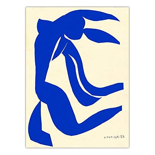 Famoso pintor francs Henri Matisse abstracto azul personaje obra de arte impresin impresin familia sin marco lienzo pintura A 40x60cm