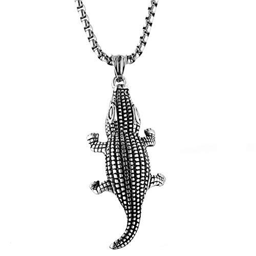 Daesar Herren Halskette Anhänger Edelstahl Krokodil Silber Kette Freundschaftskette