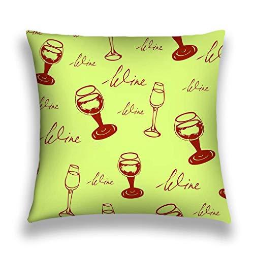 Throw Pillow Cover Funda de Almohada Vino Patrón sin Costuras Gafas Color Sofá Inferior Funda de cojín Decorativa para el hogar