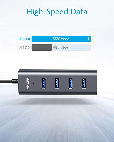 Anker USB C Hub, Aluminum USB C Adapter with 4 USB 3.0 Ports, for    MacBook Pro 2018/2017, ChromeBook, XPS, Galaxy S9/S8, and More
