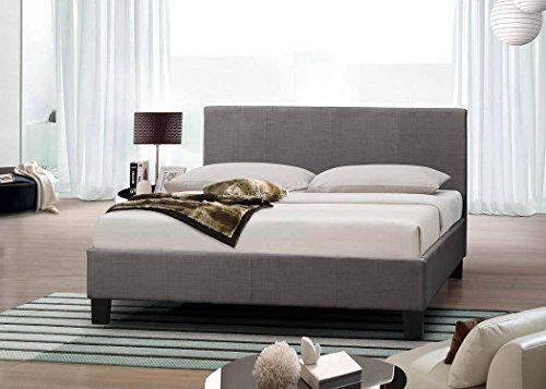 Frankfurt & Co Designer-Bett, moderner Stil, Stoffbezug und luxuriöse Memoryschaum-Matratze, holz, grau, 5FT-KING