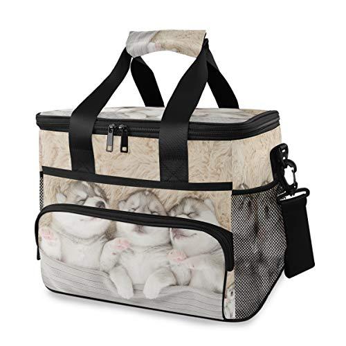 Lunch Bag Picknick koelbox box houder schouderriem draagbaar schattige dier Siberian Husky puppy slaapzak ijszak