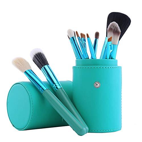 Super doux, facile à appliquer Outil de maquillage portatif de 12pcs pinceaux de maquillage portatifs avec la coupe en cuir cheveux en nylon-vert Set de pinceaux de maquillage (Color : Green)