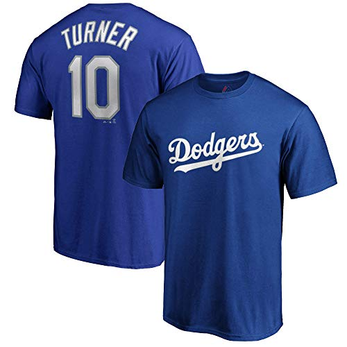 Outerstuff MLB Youth Performance Team Color Player Name and Number Jersey T-Shirt (Medium 10/12, Justin Turner Los Angeles Dodgers)