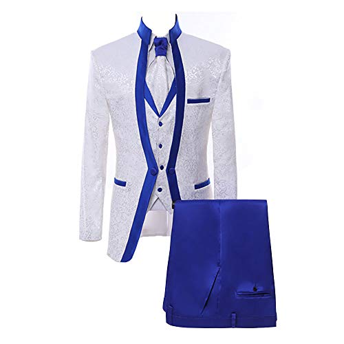 Paisley Slim Fit White Premium Floral Tuxedo Prom Wedding Groom 3 Pieces Suits