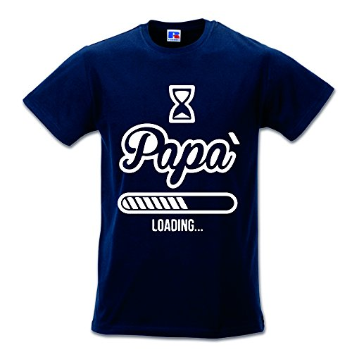 T Shirt Maglia Maglietta Idea Regalo per Il Papa' Papa' Loading S Blu
