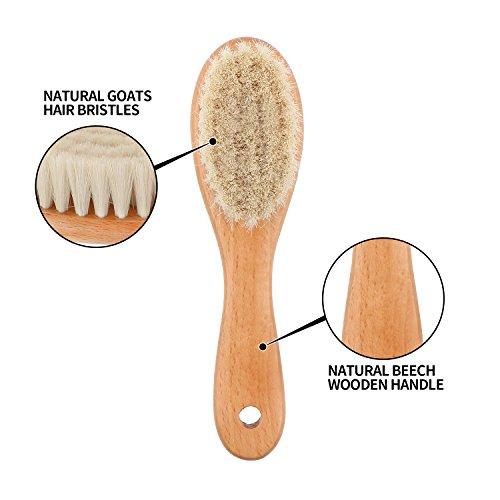Brosse cheveux bebe, à cheveux Poils de chèvre doux Premium Brosse à bébé en bois pour Cradle...
