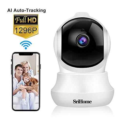 Cámara de vigilancia WiFi SriHome SH020,1296p Cámara IP Inalámbrica para Interiores,Cámara de Seguridad para Bebés y Mascotas,Detección de Movimiento,Audio Bidireccional,Visión Nocturna