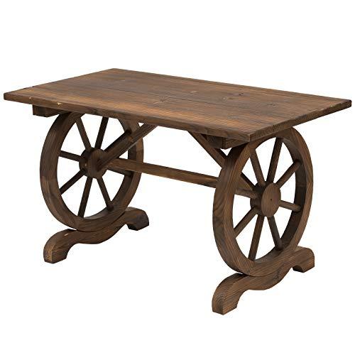 Outsunny Tavolo da Giardino Stile Country con Gambe a Ruota, in Legno di Abete Resistente alle Intemperie 113x60x65cm