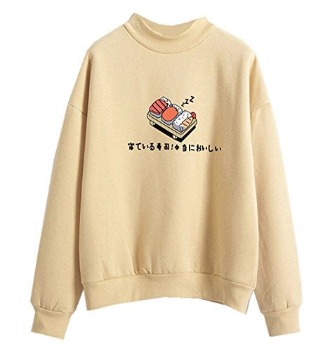 Harajuku Pastel Sweater Japanese Sushi Cartoon Tumblr Shirts for Teen Girls,Yellow
