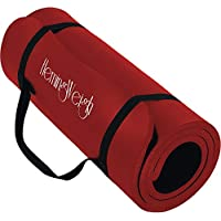 HemingWeigh Extra Thick High Density Exercise Yoga Mat with Carrying Strap for Exercise, Yoga and Pilates