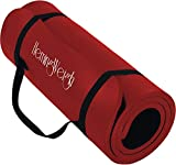 Yoga Mat for Outdoor and Indoor Exercise with Strap Carrier, 1/2 Inch Thick High Density by HemingWeigh, Red