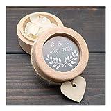 LHYLHY Portador de Anillo buzón Personalizado, Boda de la Caja del Anillo, Sostenedor de Madera de la Caja del Anillo, Boda de Encargo rústica Iniciales y Fecha Wedding (Color : Model 4)