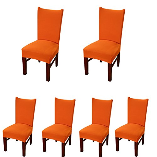 Deisy Dee Stretch Solid Color Chair Covers Removable Washable for Hotel Dining Room Ceremony Chair Slipcovers Pack of 6 C093 (Orange)