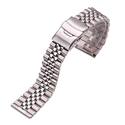 ZXF Correa Reloj, Reloj de Acero Inoxidable Pulsera Correa 20mm 22mm 24mm Metal Plateado Accesorios Correa Pulsera (Band Color : Silver, Band Width : 24mm)
