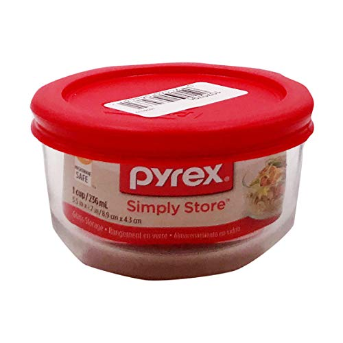 Pyrex Simply Store Lebensmittelbehälter aus Glas für 1 Tasse fein 1-Cup Roter Deckel