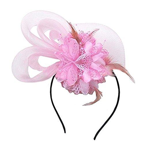BOLAWOO-77 Dames Et Filles Fascinators Hat Fleur Plumes Mesh Sur Mode Chic Un Bandeau Et Un Clip Split Tea Party Headwear (Color : Rose, Size : One Size)