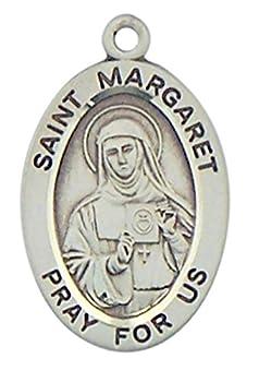 HMHReligiousMfg Sterling Silver Patron Saint Margaret Oval Medal Pendant 7/8 Inch