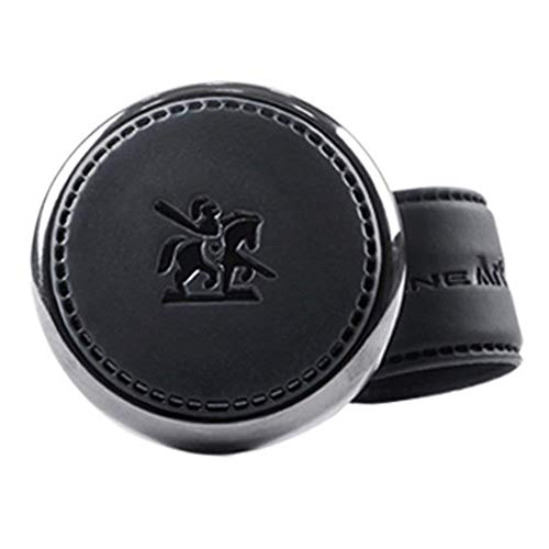 [Leather Power Knob] BLACKSUIT can be mounted on all models Vehicle Handle Spinner Power Handle Spinner Handle Car Accessories luxury Hi-quality Power Handle Steering Wheel Spinner Knob (Black)