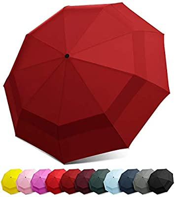 EEZ-Y Compact Travel Umbrella with Windproof Double Canopy Construction - Auto Open and Close Button (Burgundy, One Size)