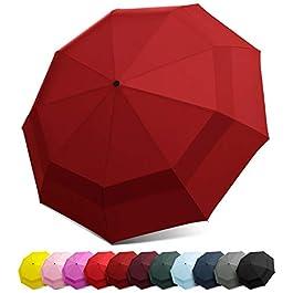 EEZ-Y Windproof Travel Umbrella – Compact Double Vented...