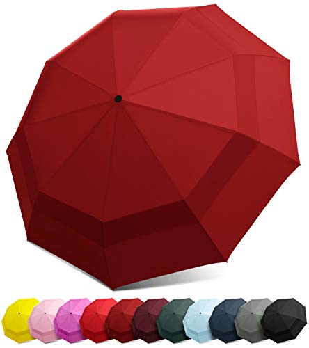 Windproof Travel Umbrella - Compact, Double Vented Folding Umbrella w/Automatic Open & Close Button - Portable, Lightweight Outdoor & Golf Rain Umbrellas w/UV Protection, Burgundy