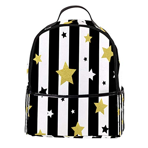 ATOMO Casual Mini Backpack Black, White and Gold Stars Seamless Patterns PU Leather Travel Shopping Bags Daypacks