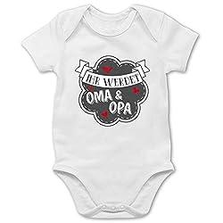 Shirtracer Sprüche Baby - Ihr werdet Oma und Opa - 1/3 Monate - Weiß - schwanger überraschung Tante Body - BZ10 - Baby Body Kurzarm für Jungen und Mädchen