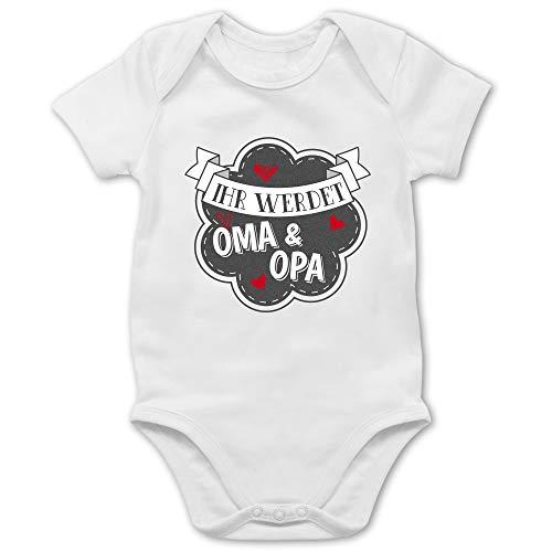 Shirtracer Sprüche Baby - Ihr werdet Oma und Opa - 1/3 Monate - Weiß - du wirst Opa und oma Geschenk Body - BZ10 - Baby Body Kurzarm für Jungen und Mädchen