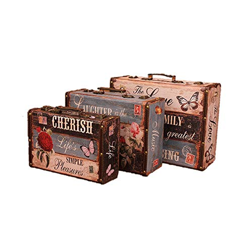 YuYzHanG Wooden Treasure Chest Beautiful High Quality Luggage Christmas Gift Box Three Antique Retro Style Design Pattern Birthday Blanket Boxing Toy Box, 3 Colour, Large+middle+small
