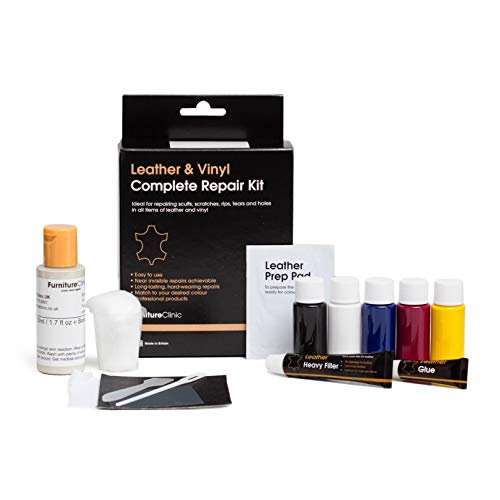 Furniture Clinic Complete Leather Repair Kit (Dark Brown) -12 Colour Options for Sofas, Car Seats - Matches All Shades of Leather - Patch, Fill & Touch Up Scratches, Tears and Other Damaged Areas