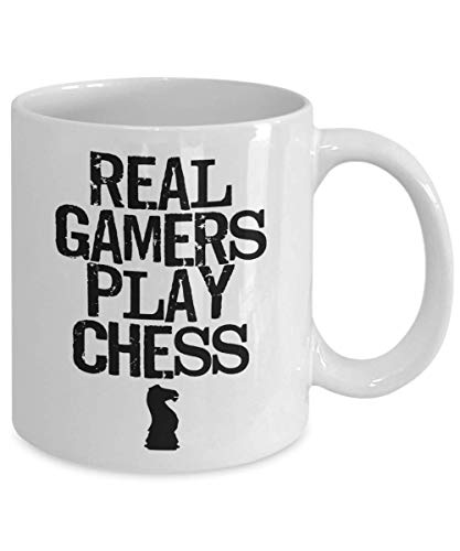 Product Image 3: PixiDoodle Real Gamers Play Chess – Board Game Geek Distressed Coffee Mug (11 oz, White)