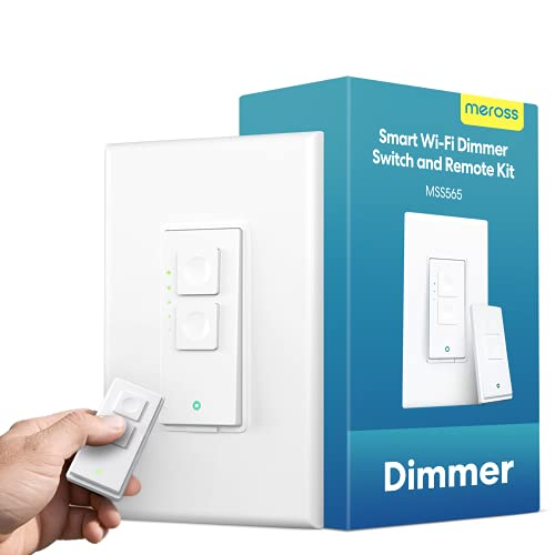 meross Smart Dimmer Switch with Remote - WiFi Light Switches Single Pole, No Hub Needed, Voice and Remote Control, Compatible with Alexa, Google Home and SmartThings, Neutral Wire Required - Upgraded
