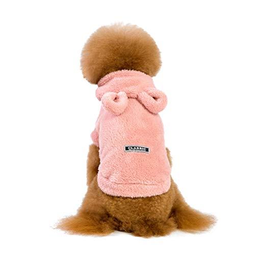 POPETPOP Vestiti Inverno Caldi in Pile con Cappuccio per Cucciolo, Cappotto Ispessito per Cani di Piccola Taglia (Rosa, S)