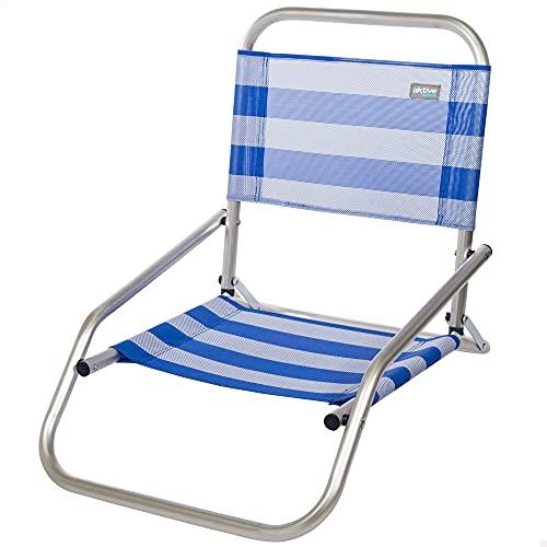 Aktive 53953 - Silla baja de playa, Silla plegable, 47x63x53 cm, altura del asiento 10 cm, 100 kg, Silla fija, aluminio y textileno, color azul y blanco, Aktive Beach