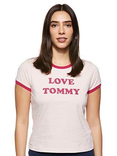 Tommy Hilfiger Damen SS Tee Slogan Schlafanzugoberteil, Rosa (PINK 612), (Herstellergröße:SM)