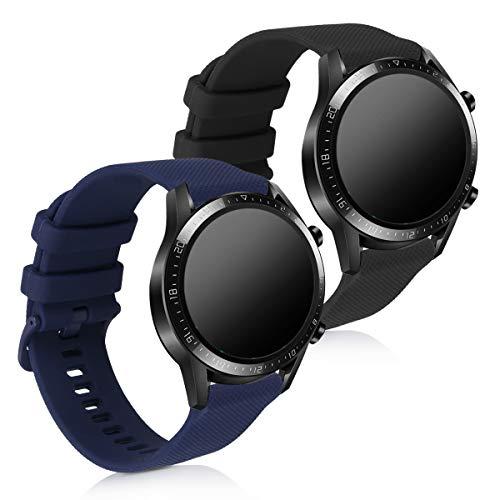 kwmobile 2X Sportarmband kompatibel mit Huawei Watch GT2 (46mm) - Armband TPU Silikon Set Fitnesstracker Schwarz Dunkelblau