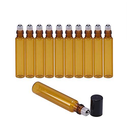 Suneast 25 botellas vacías de aceite esencial, botellas de vidrio ámbar recargables con bolas de acero inoxidable para aromaterapia, fragancia perfumada, 1 ml, 10ml, 10 ml., 25
