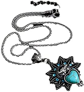 Silver Plated Necklace with Turquoise Stone item No 1124 - 10