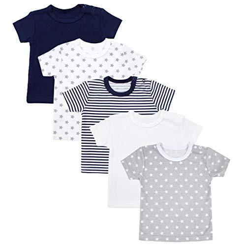 TupTam Baby Unisex Kurzarm T-Shirt Sterne Streifen 5er Set, Farbe: Mehrfarbig, Größe: 92